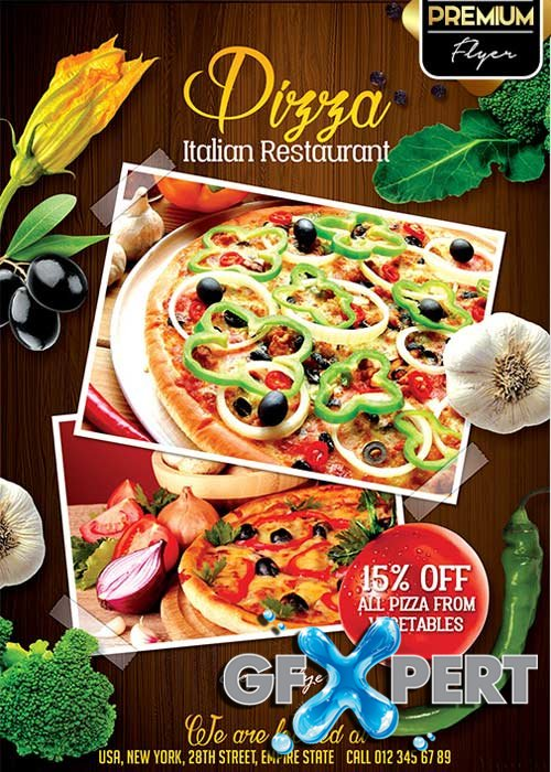 Restaurant Flyer V2 PSD Template + Facebook Cover