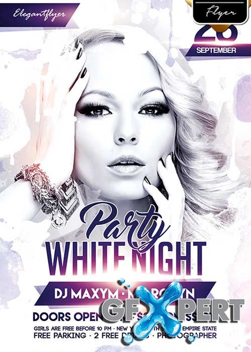 White Night Party V7 Flyer PSD Template + Facebook Cover