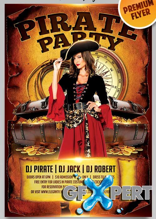 Pirate Party V12 Flyer PSD Template + Facebook Cover