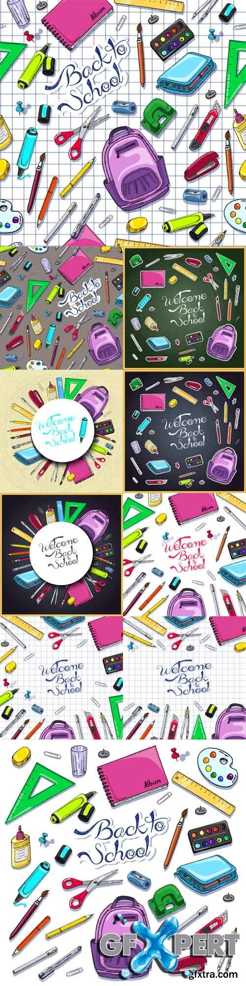 Vector Set - Illustrations of Back to School Supplies