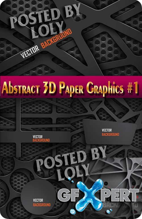 Abstract 3D Paper Graphics #1 - Stock Vector