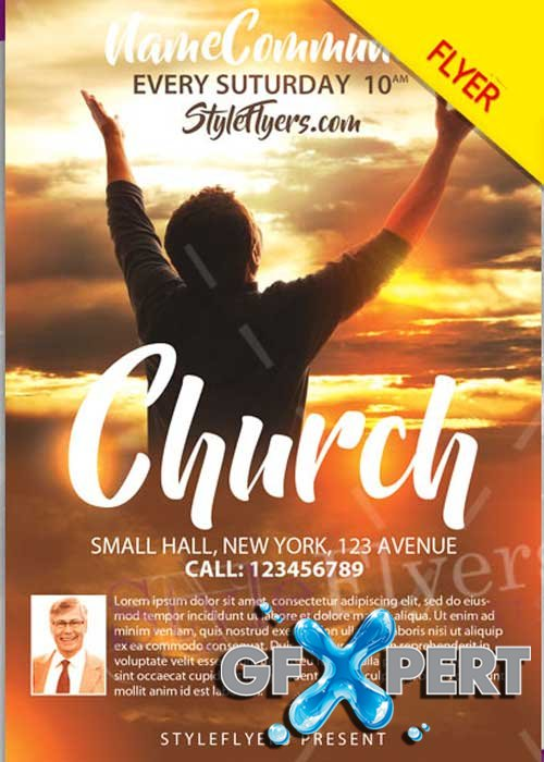 Free church psd v12 flyer template download for Religious flyers template free