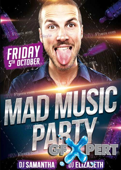 Mad Music Party V1 PSD Flyer Template