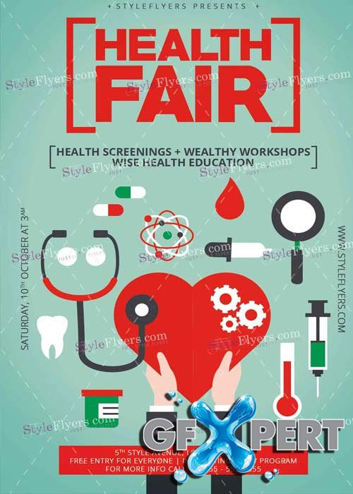 Free Health Fair PSD V6 Flyer Template download
