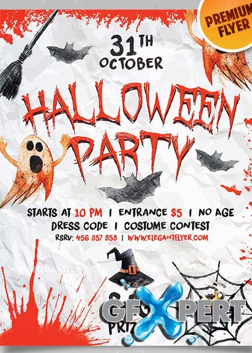 Halloween Party V18 Flyer PSD Template + Facebook Cover