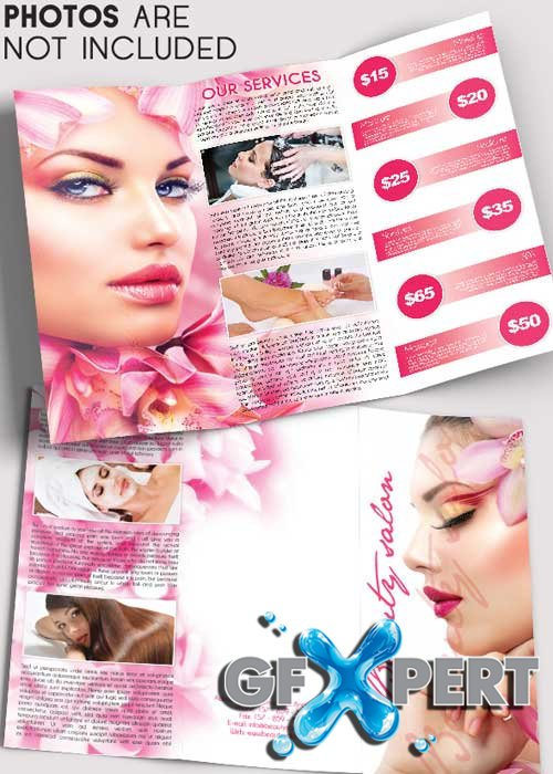 Free Beauty Salon V5 Tri Fold Brochure PSD Template Download