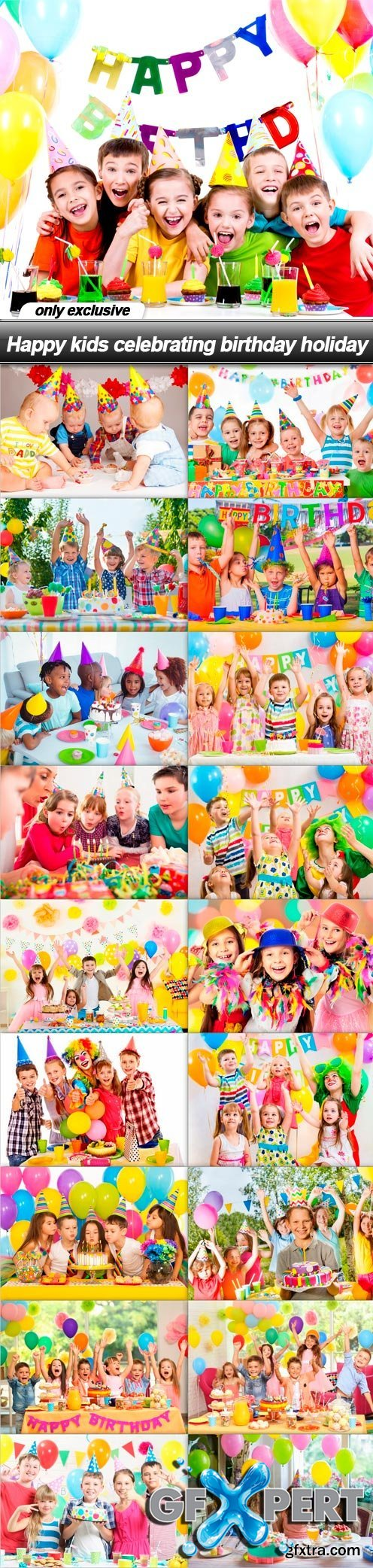 Happy kids celebrating birthday holiday - 19 UHQ JPEG