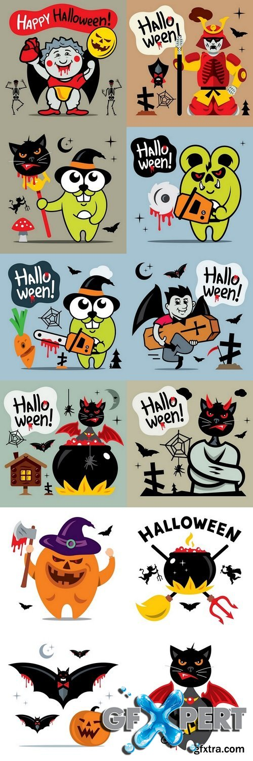 Vector Halloween Concept Cartoon Illustration
