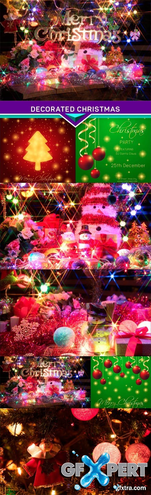 Snowman and a decorated christmas tree with light 7X JPEG