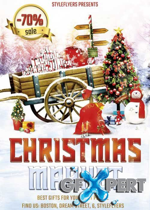 Christmas Market V2 PSD Flyer Template with Facebook Cover