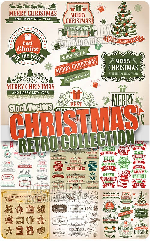 Christmas collection retro - Stock Vectors