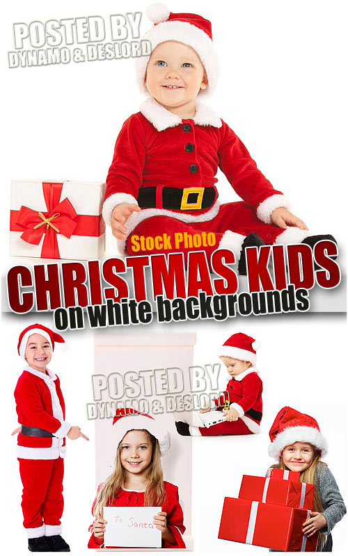 Christmas kids on white - UHQ Stock Photo