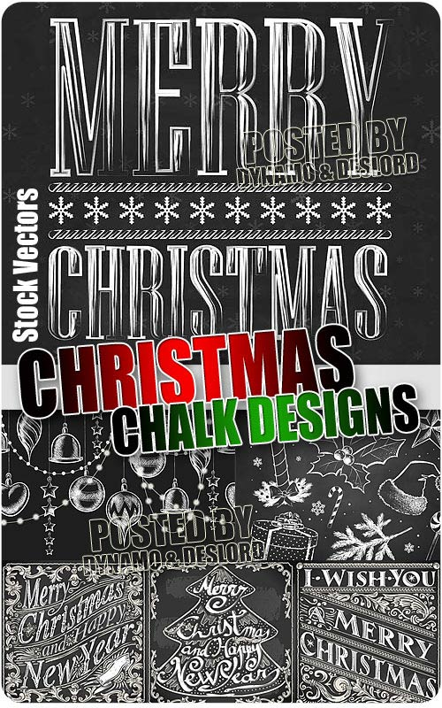 Xmas chalk designs - Stock Vectors