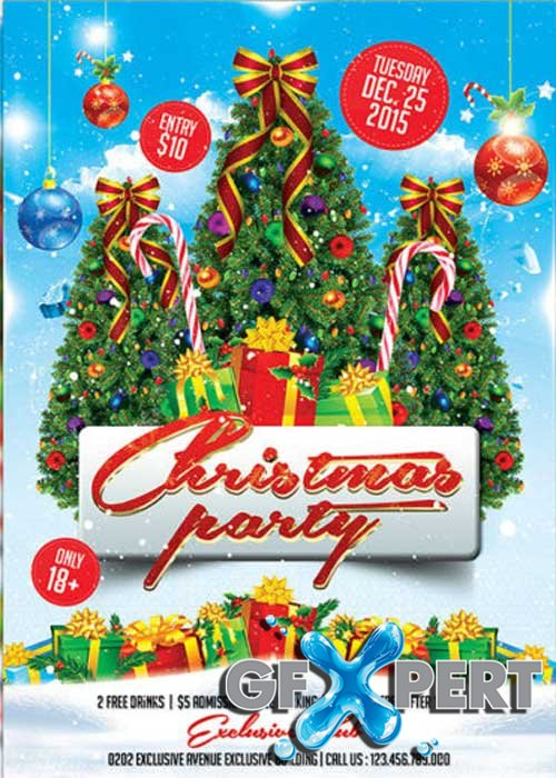 Christmas Party Club and Party Flyer PSD V16 Template