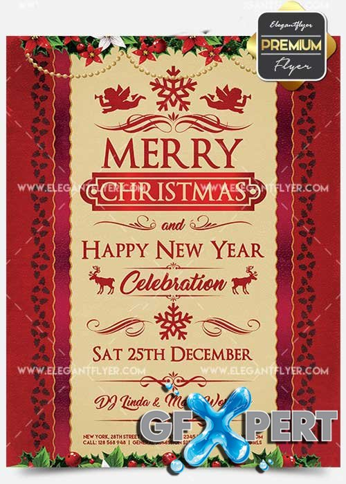 Christmas and New Year Celebration  Flyer PSD V3 Template + Facebook Cover