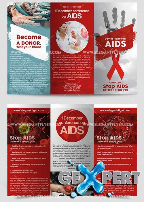 Day of Fight with AIDS Premium Tri-Fold PSD V1 Brochure Template
