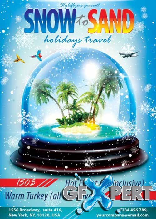 Snow to Sand Holidays Travel PSD Flyer Template with Facebook Cover