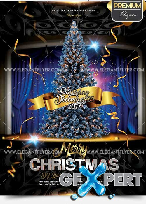 Merry Christmas Flyer PSD V02 Template + Facebook Cover