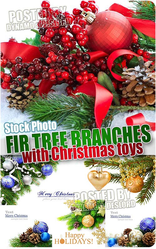 Fir tree branches with Christmas toys - UHQ Stock Photo