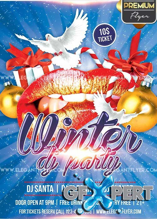 Winter Dj Party Flyer PSD V1 Template + Facebook Cover