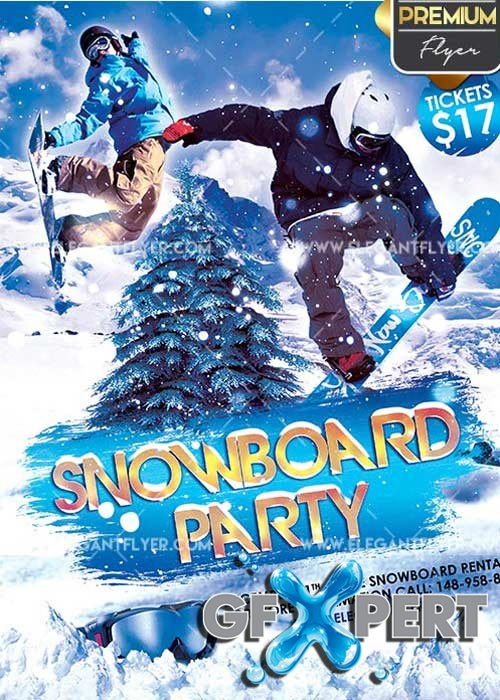 Snowboard Party V2 Flyer PSD Template + Facebook Cover