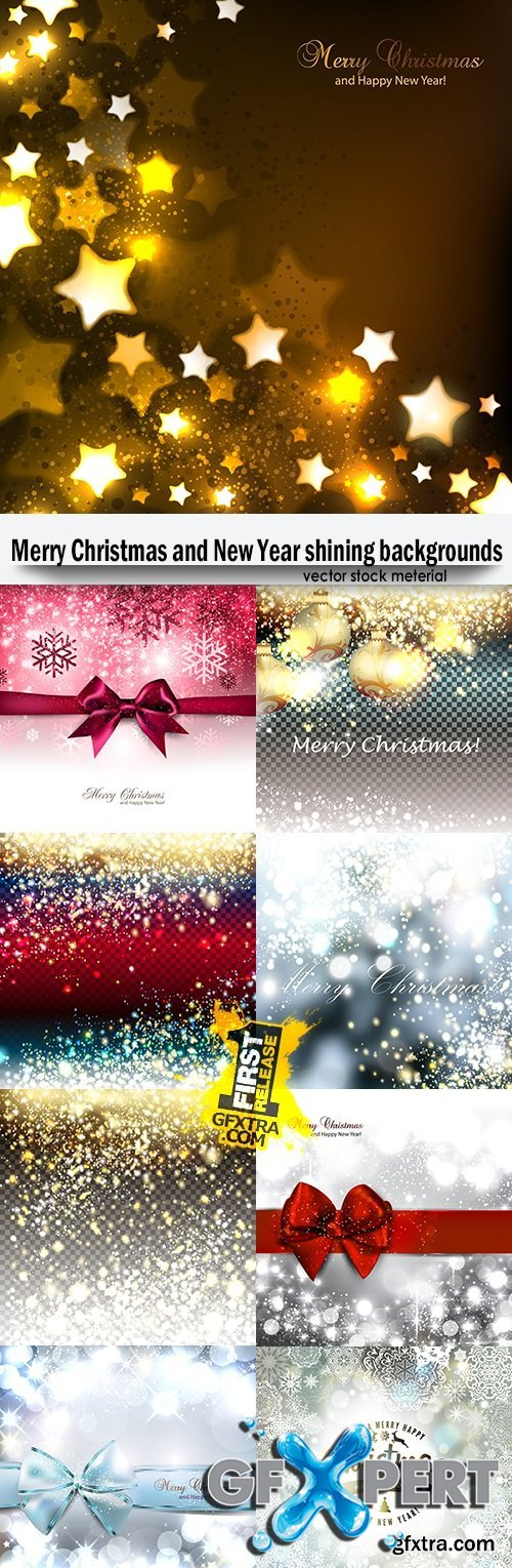 Merry Christmas and New Year shining backgrounds