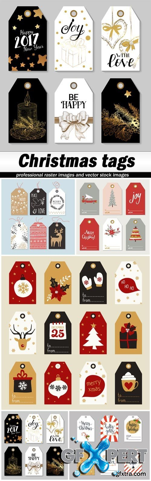 Christmas tags - 5 EPS