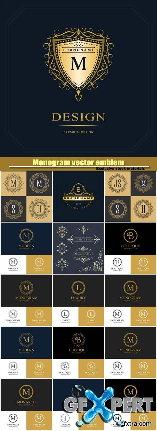 Monogram vector emblem and logo template