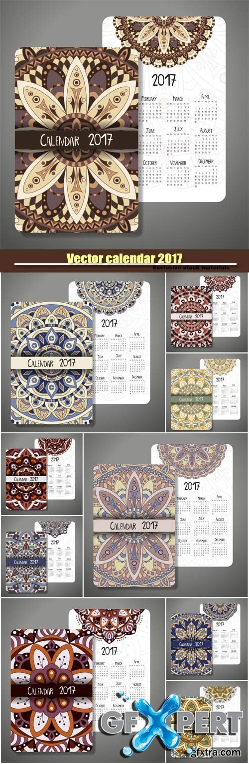 Vector calendar 2017 with decoraive mandala design
