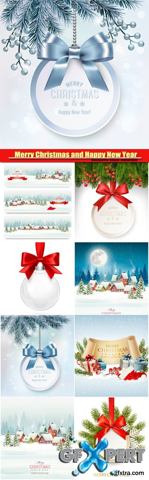Merry Christmas and Happy New Year vector, background with a gift card and branches of tree