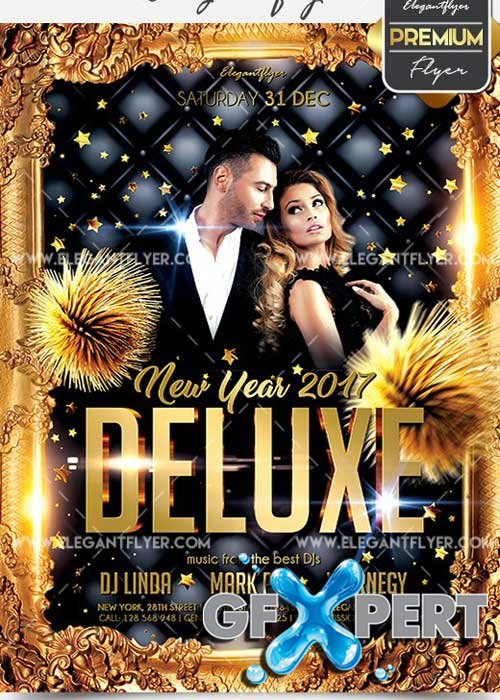 Deluxe New Year 2017 Flyer PSD V5 Template + Facebook Cover