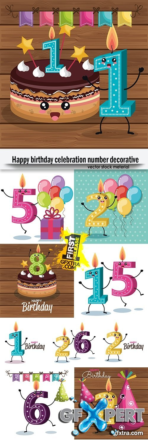 Happy birthday celebration number decorative