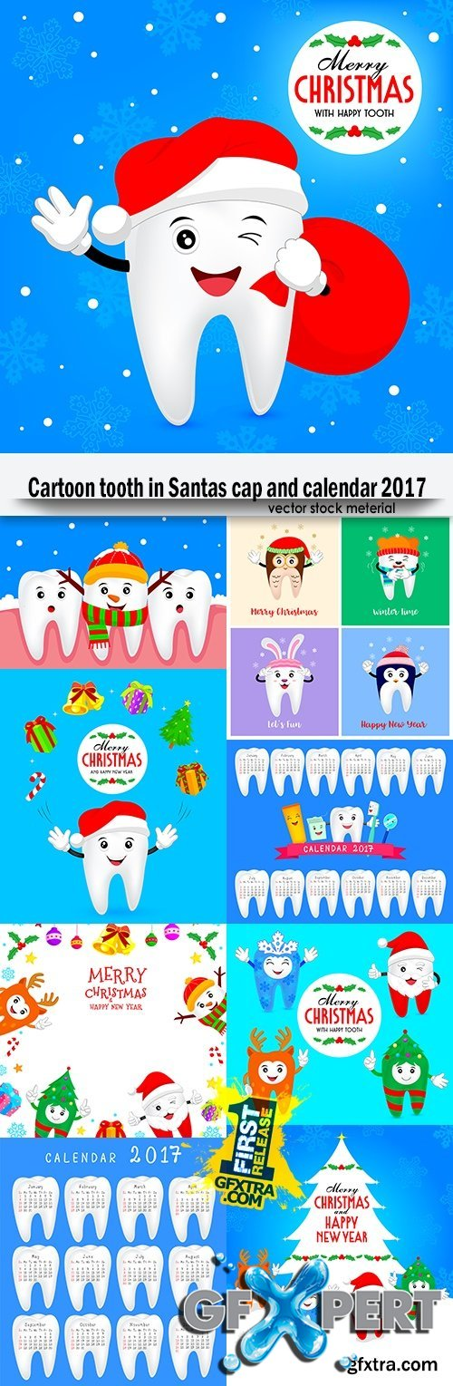 Cartoon tooth in Santas cap and calendar 2017
