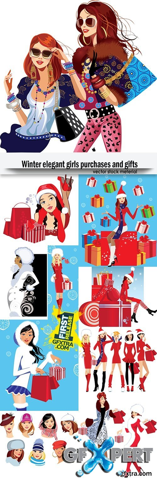 Winter elegant girls purchases and gifts