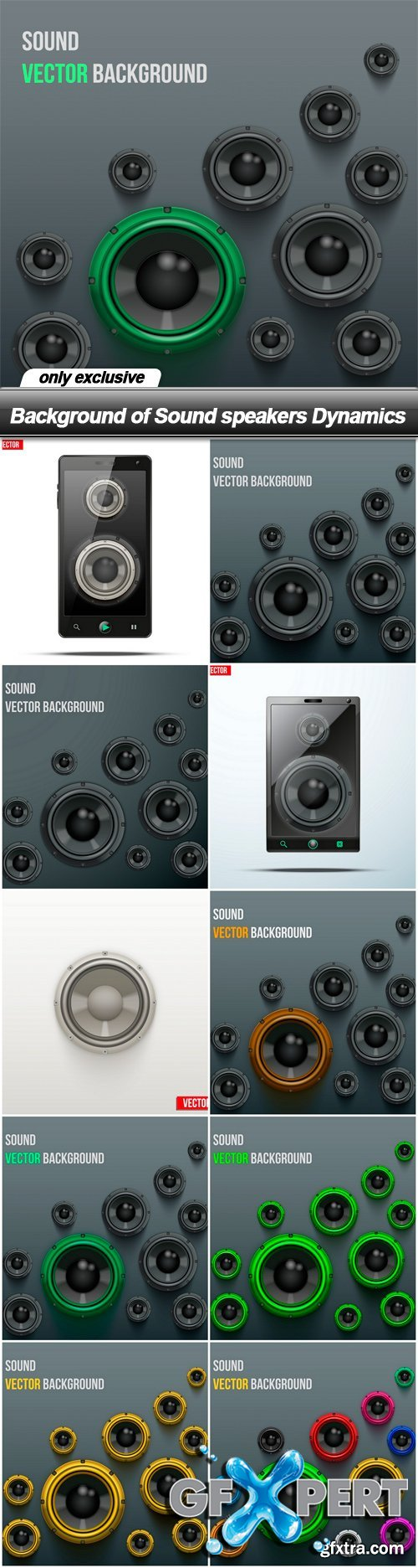 Background of Sound speakers Dynamics - 10 EPS