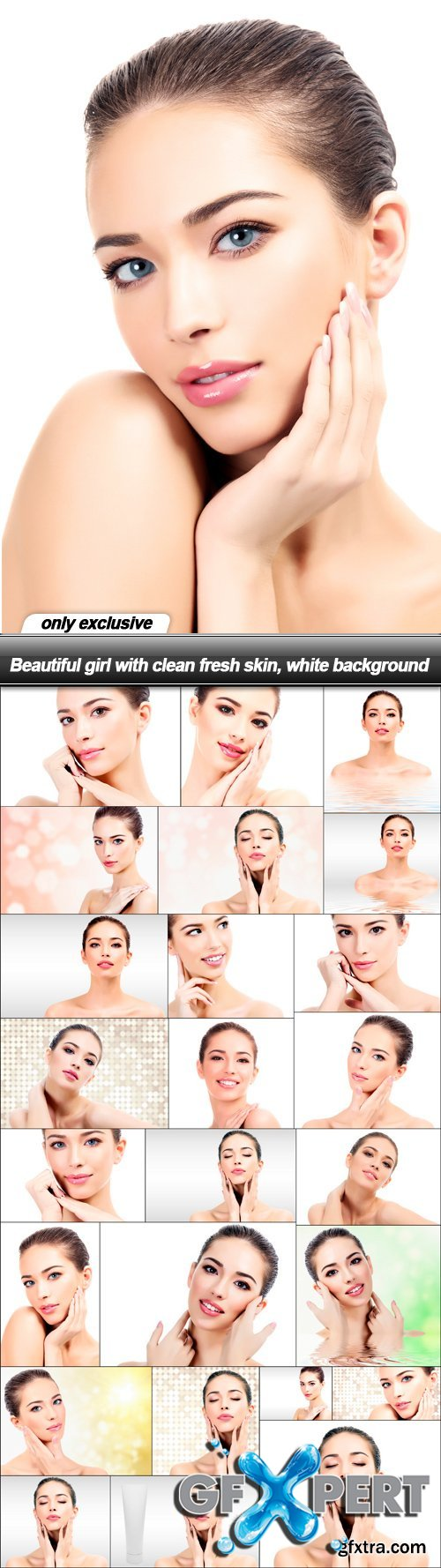 Beautiful girl with clean fresh skin, white background - 25 UHQ JPEG