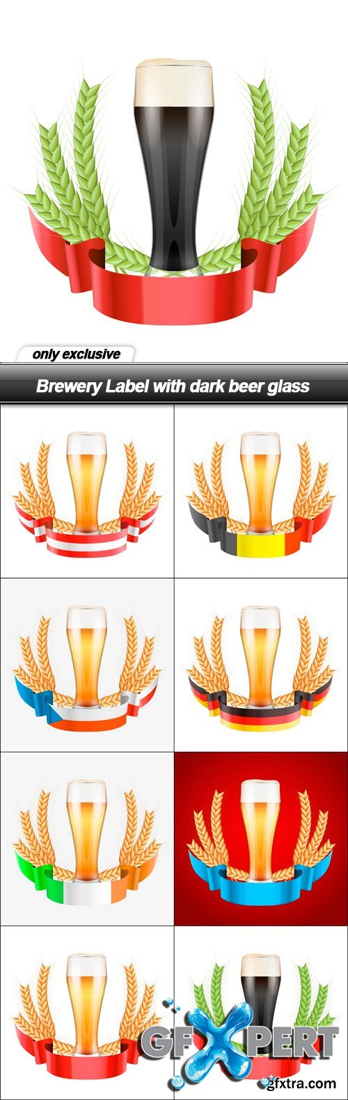 Brewery Label with dark beer glass - 8 EPS