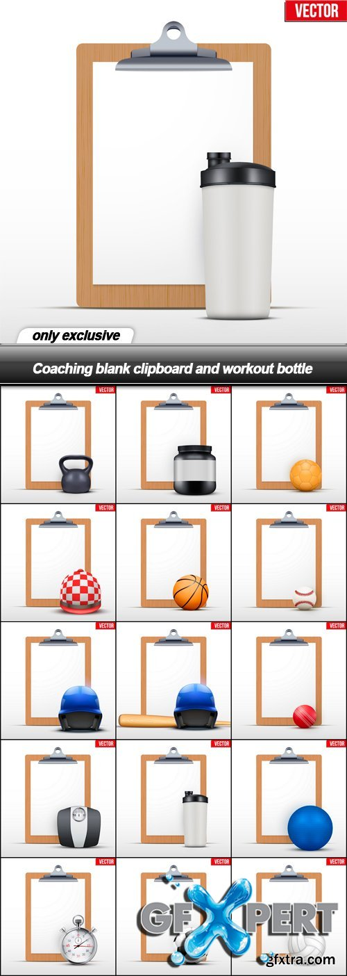 Coaching blank clipboard and workout bottle - 15 EPS