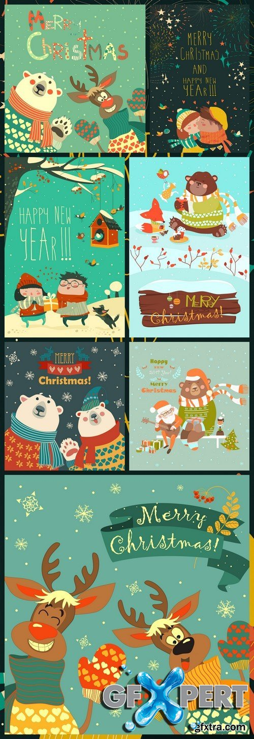 Cartoon Santa with kids Vector greeting card #2 7X EPS