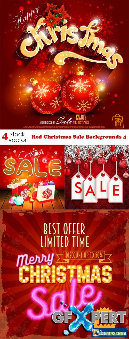 Vectors - Red Christmas Sale Backgrounds 4