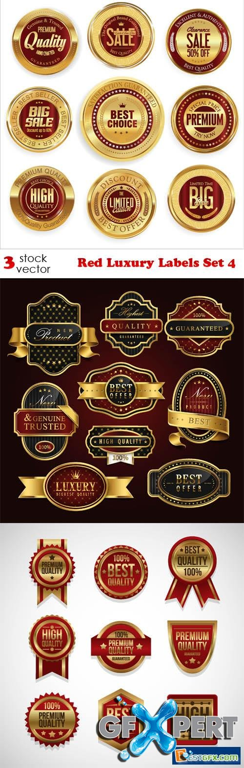 Vectors - Red Luxury Labels Set 4
