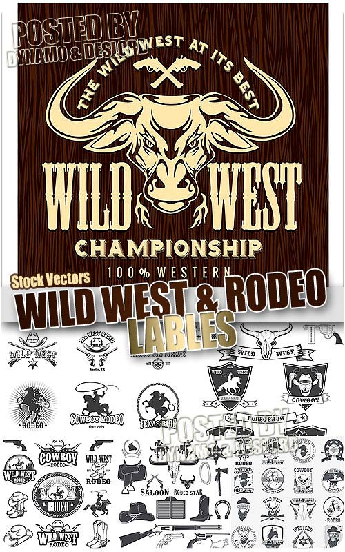 Wild West and Rodeo labels - Stock Vectors