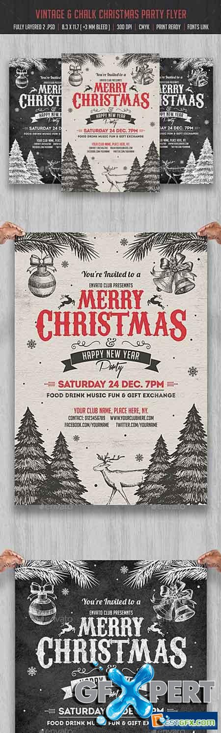 Vintage & Chalk Christmas Party Flyer 18705378