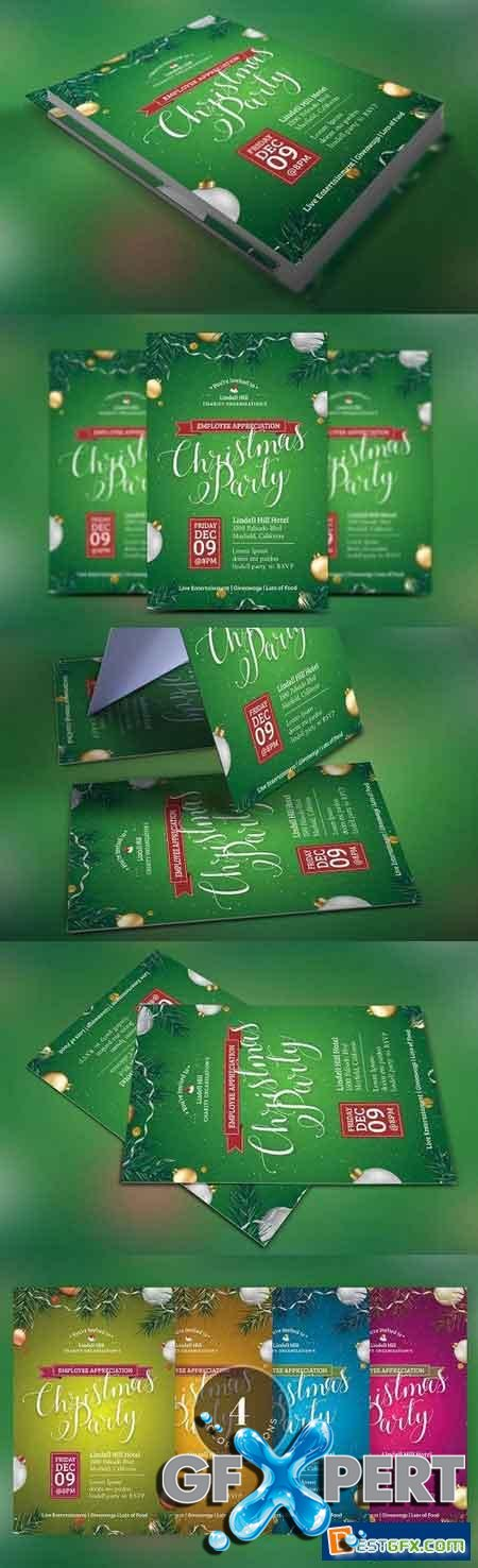 Creativemarket Green Christmas Party Flyer Template 1093881