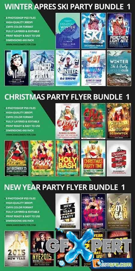 Creativemarket New Year, Winter, Christmas Flyer Template Bundle 1098099 1098355 1098841