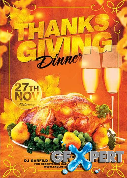 Thanksgiving Dinner V16 Premium Flyer Template + Facebook Cover