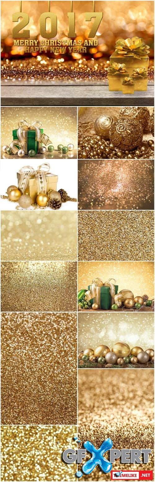 Merry Christmas and Happy New Year, gold backgrounds and textures