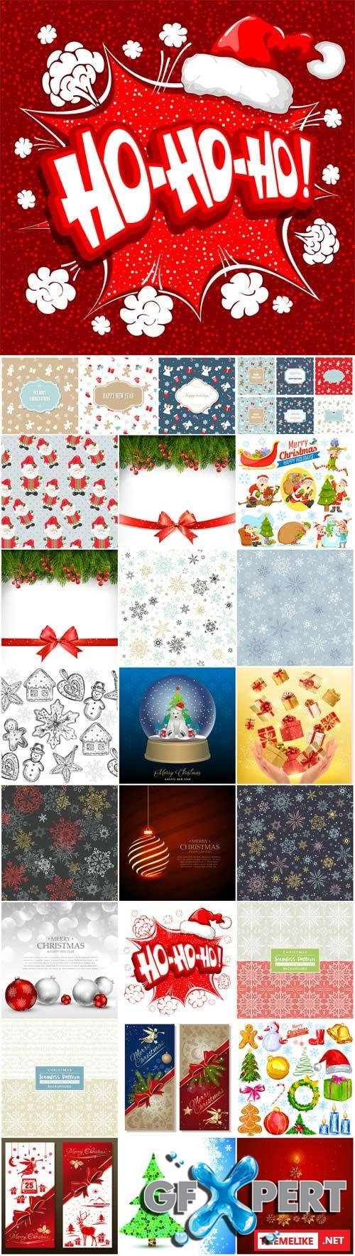 Merry Christmas and Happy New Year vector, backgrounds and textures