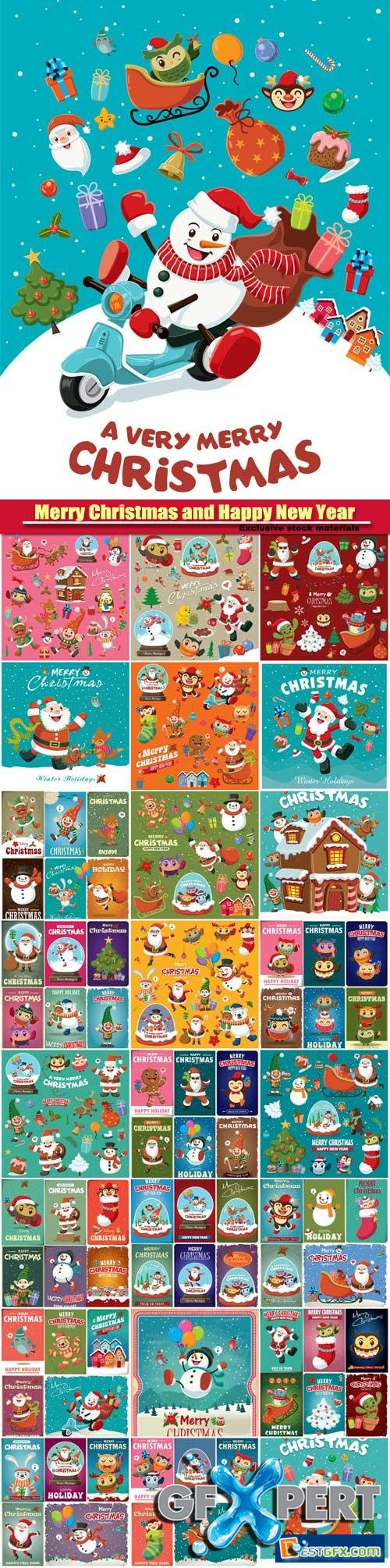 Vintage Christmas vector poster design set