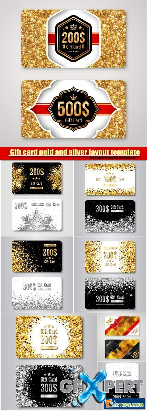 Gift card gold and silver layout template vector, premium certificate